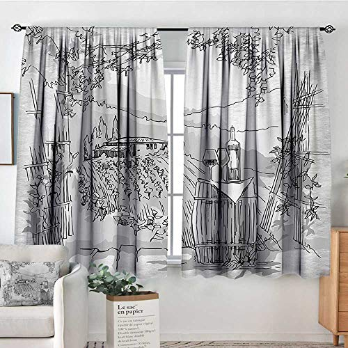Sketchy Waterproof Window Curtain Aerial View of Valley with House and Winery Elements Italian Mediterranean Art Customized Curtains 55