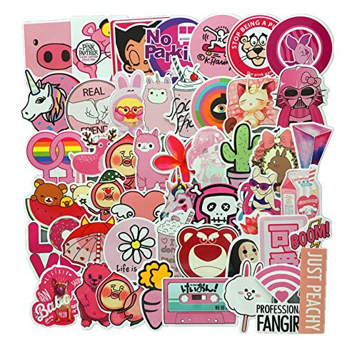50-Pcs PVC Decals Pink Teenage Dream Romance of Teenage Girls Vinyl Computer Stickers for Cars Motorbikes Skateboard Laptops