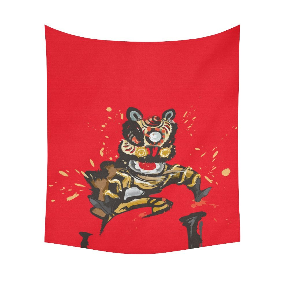 InterestPrint Lion Dance Home Decor Tapestries Wall Art,Chinese Culture Tapestry Wall Hanging Art Sets 51 X 60 Inches