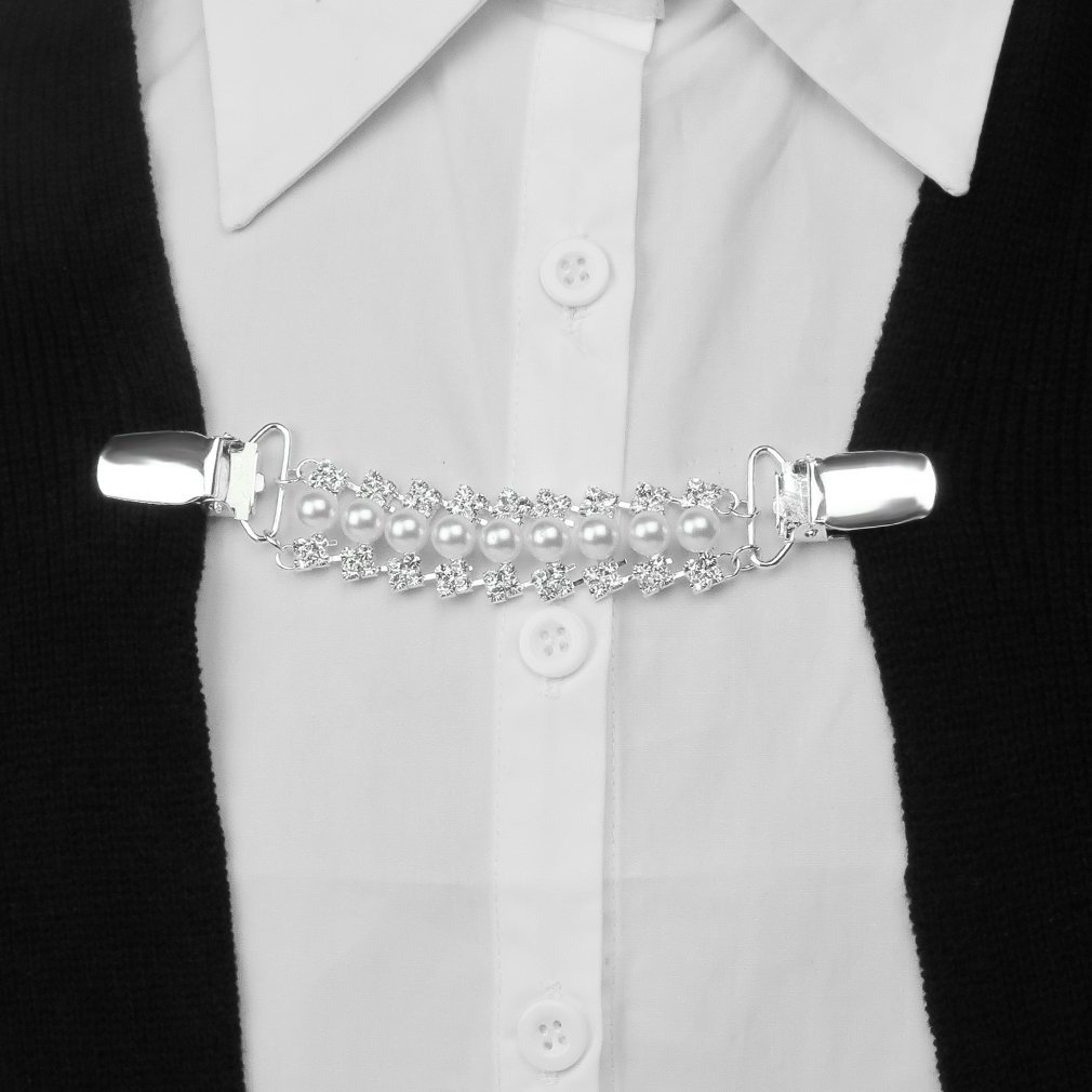 Evelots Bow Tie Style Sweater Collar Clip-with Chain-Cardigan//Blouse-Asst.Styles