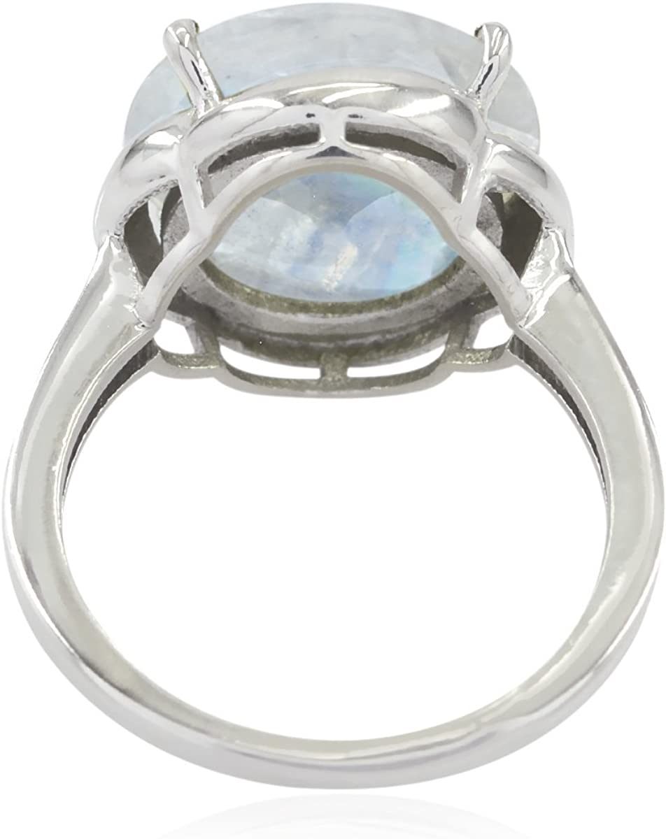 925 Sterling Silver White Rainbow Moonstone Real Gemstones Ring Great Jewelry Greatest Item Gift for Friend Real Gemstones Round Faceted Rainbow Moonstone Ring