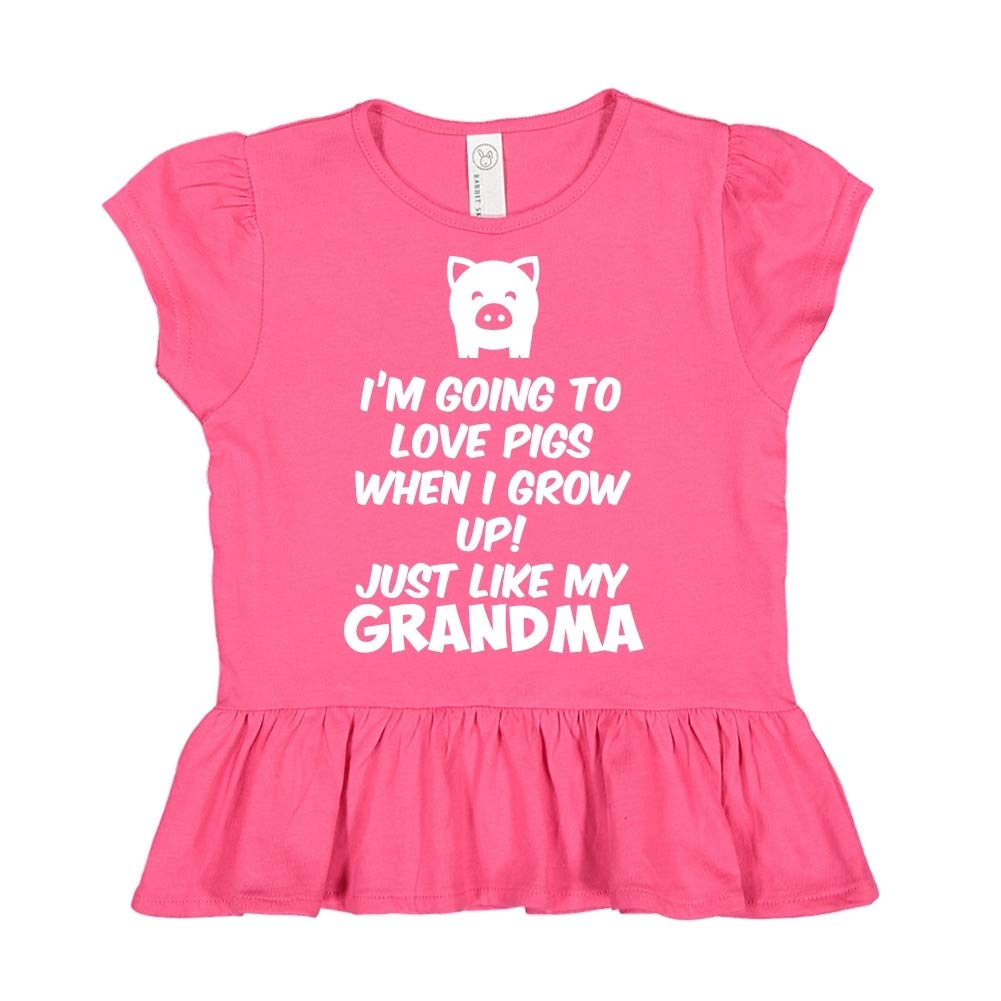 Toddler//Kids Ruffle T-Shirt Im Going to Love Pigs When I Grow Up Just Like My Grandma