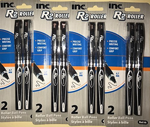R-2 Roller Ball Pen, 0.7 mm Black Ink (8 pens included) 4 Piece