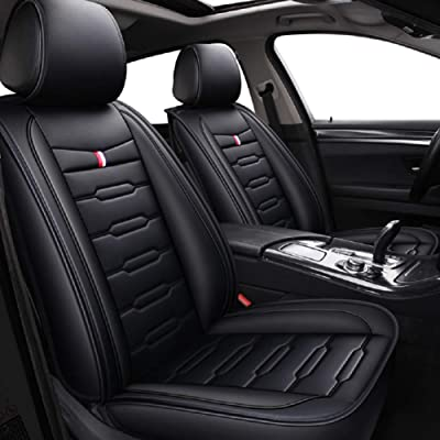 Skysep Cartoon Full Set Universal Fit 5 Seats Car Surrounded Waterproof Leather Car Seat Covers Protector Adjustable Removable Auto Seat Cushions (Black): Automotive