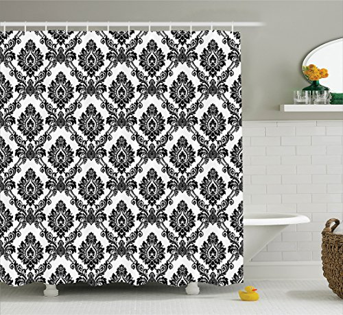 black white damask shower curtain - 3