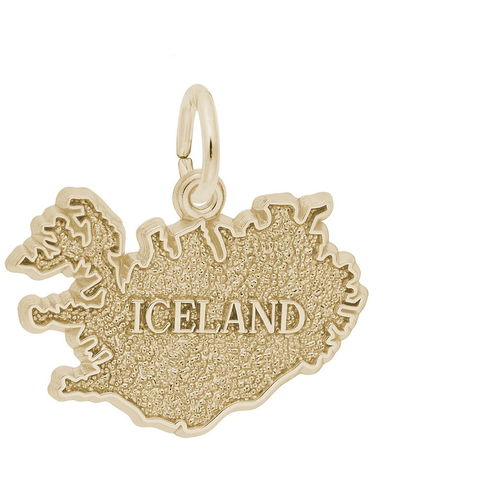 Iceland Charm In 14k Yellow Gold, Charms for Bracelets and Necklaces