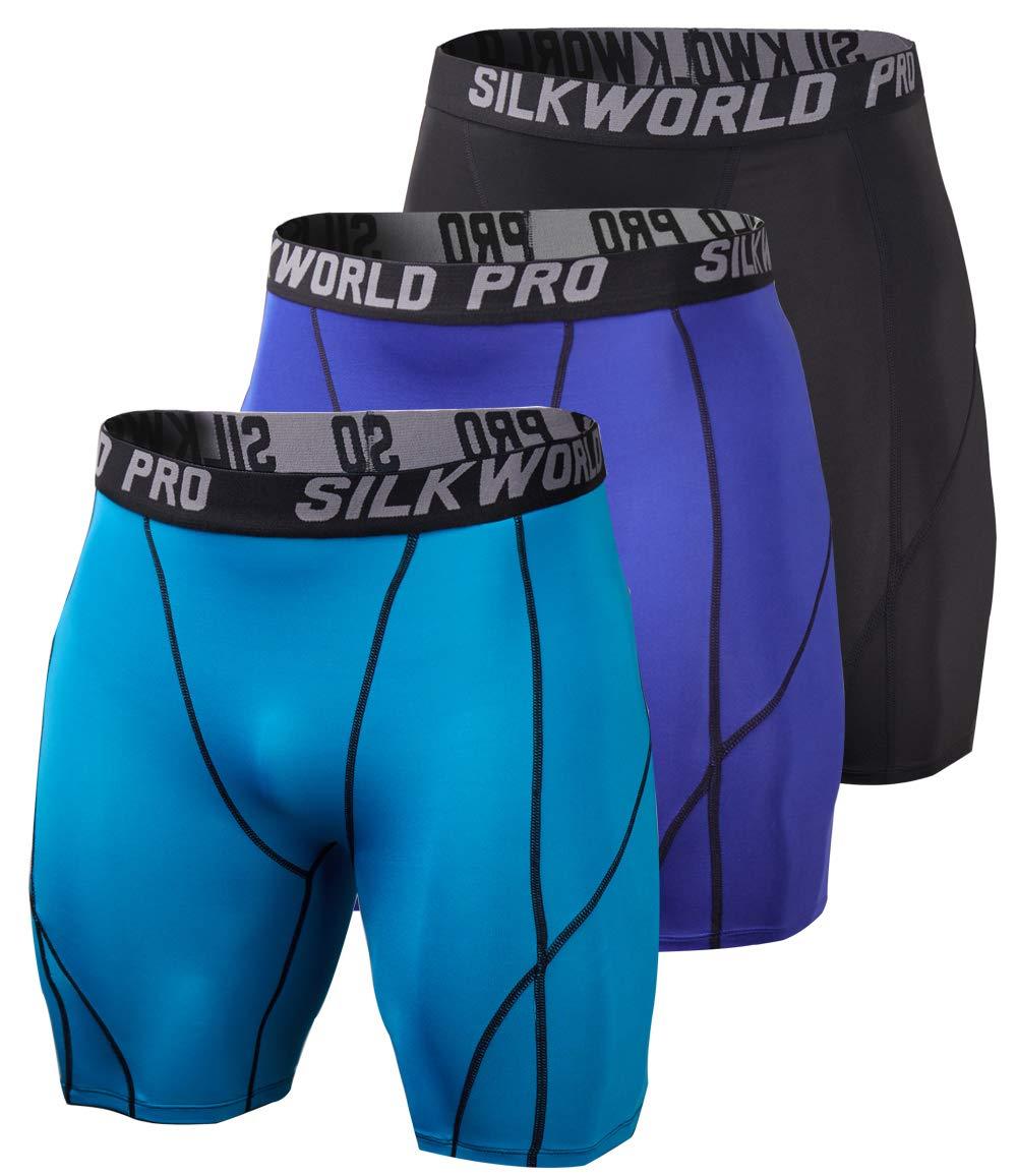 SILKWORLD Men's 3 Pack Running Tight Compression Shorts, Black, Navy Blue, Peacock Blue, L by SILKWORLD