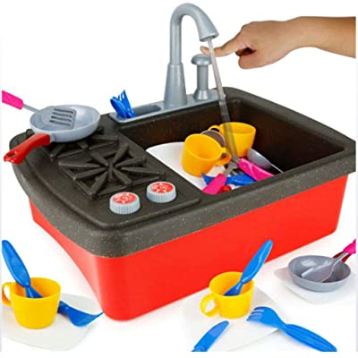 ARTIFICIAL FLOWER Kitchen Sink Toys, with Running Water/Dishes for Kids, Educational Puzzle Toys Set Children Pretend Play Kitchen Accessories Toys for Boys Girls Toddlers Kid: Sports & Outdoors