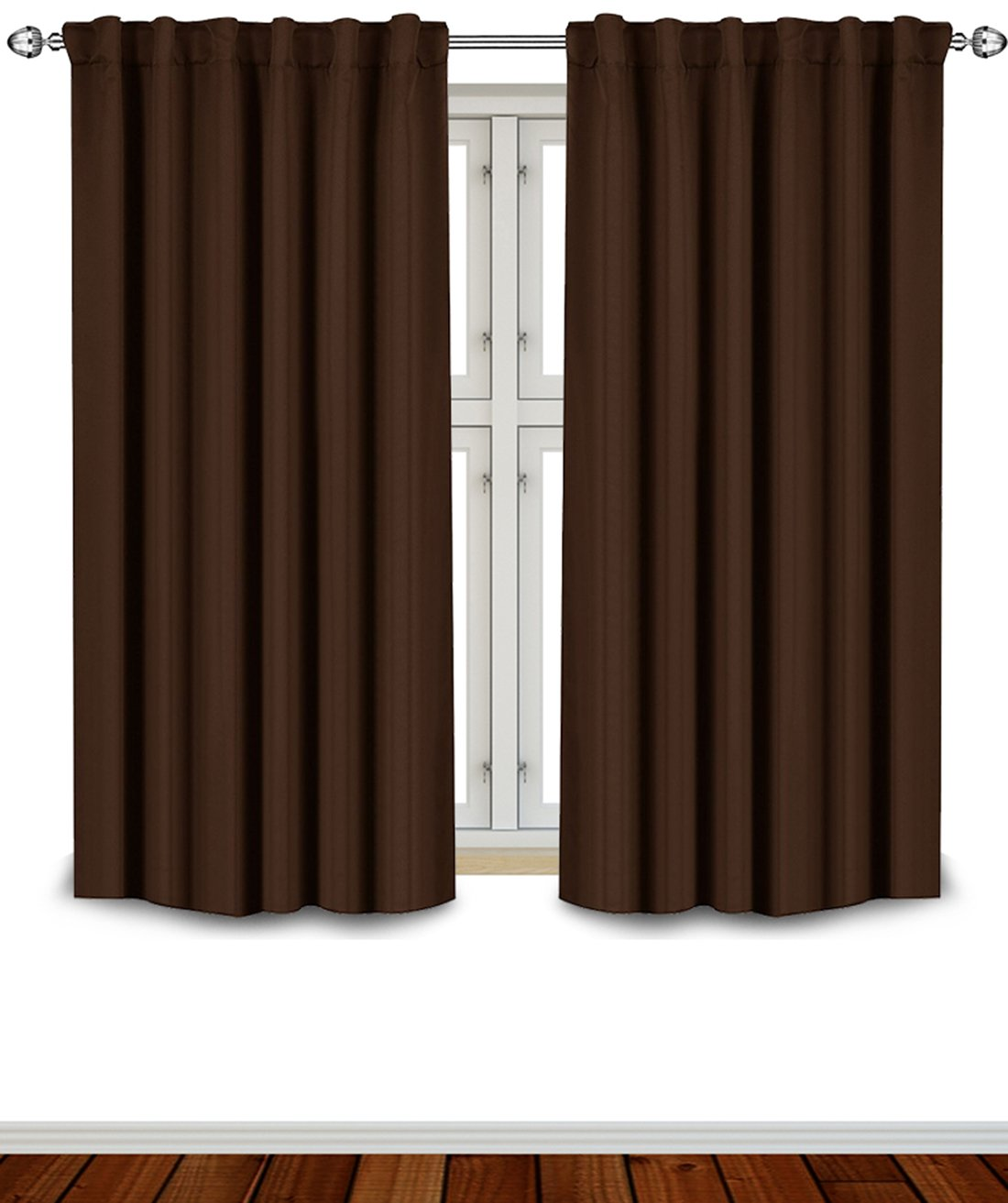 Blackout Room Darkening Curtains Window Panel Drapes - Chocolate Color 2 Panel Set