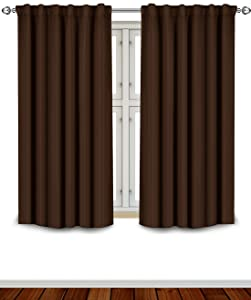 Utopia Bedding Blackout Room Darkening and Thermal Insulating Window Curtains/Panels/Drapes - 2 Panels Set - 7 Back Loops per Panel - 2 Tie Backs Included (Chocolate, 52 x 63)