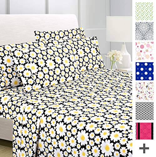 American Home Collection Deluxe 6 Piece Printed Sheet Set of Brushed Fabric, Deep Pocket Wrinkle Resistant - Hypoallergenic (Queen, Yellow Daisies) ()