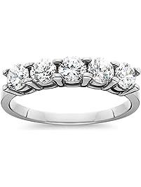 1ct five stone genuine round diamond wedding anniversary ring 14k white gold - 25th Wedding Anniversary Rings
