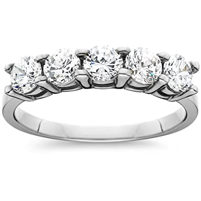 Amazoncom 1ct Five Stone Genuine Round Diamond Wedding