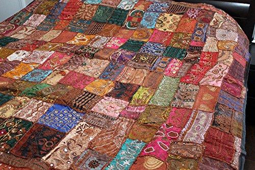 Vintage Indian Sari Beaded Embroider Bedcover Bedspread 80