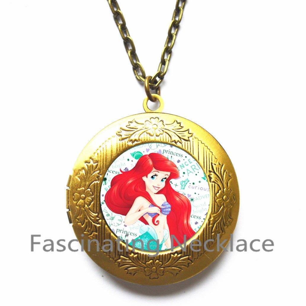 Mermaid Locket Necklace Round Glass Locket Pendant Jewelry Mermaids Locket Pendants Locket Necklaces Gifts Women,Art Locket Pendant Mermaid Jewelry,AQ109