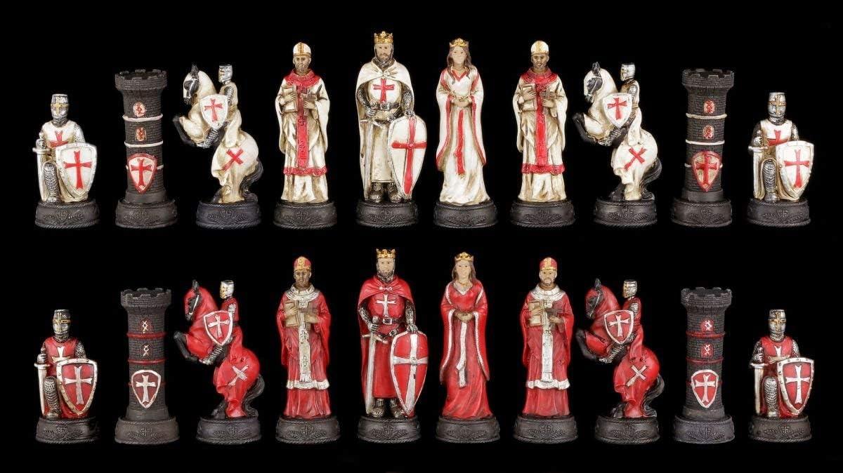 Figurines D/Échecs Set Crois/é Blanc et Rouge Chevalier /Échec Figurines
