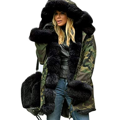 official supplier fast delivery 2019 hot sale Kanhan Camouflage Womens Faux Fur Jacket Winter Parka Hooded ...