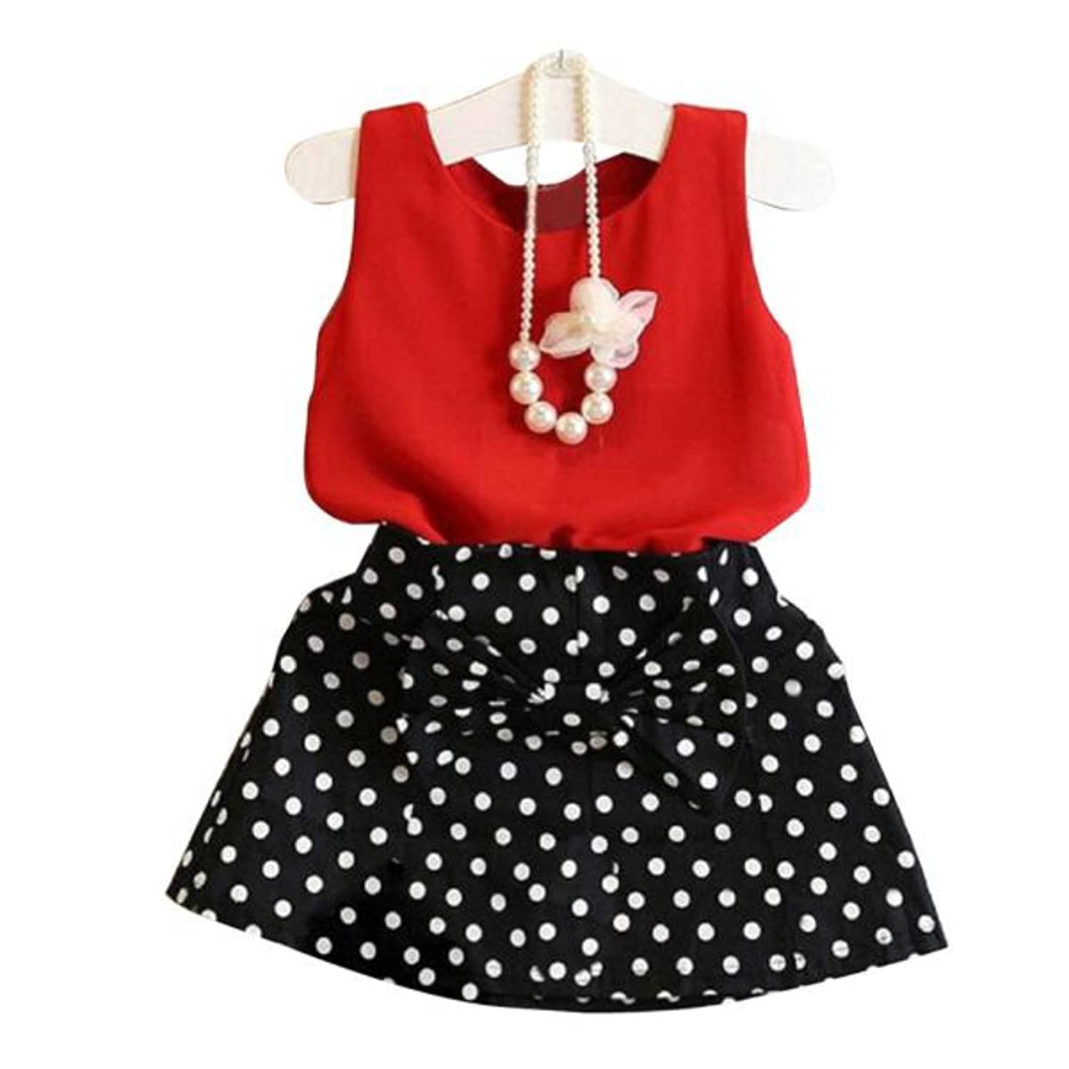0fe8f97d0 Red Sleeveless Top with Black Polka Dots Short Skirt Having Bow for Girls  (1-