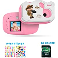 Kids Camera Cute DIY Digital Camera for Kids 1.44 inch TFT with Sticker for Girls Boys Pink with White