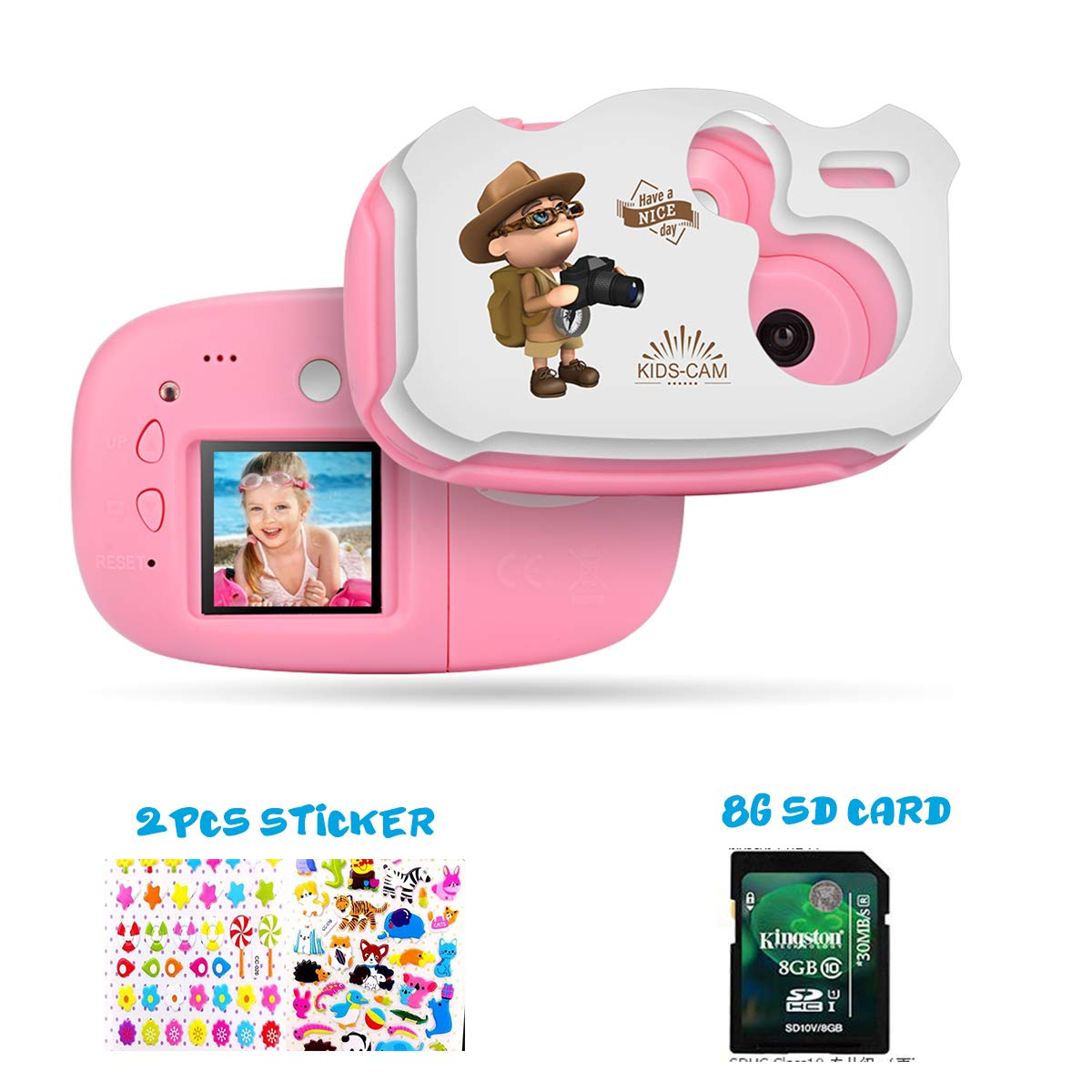 Kids Camera Cute DIY Digital Camera for Kids 1.44 inch TFT with Sticker for Girls Boys Pink with White AMKOV