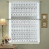 Cheap DS BATH Medallion Kitchen Curtain Tier,Macrame Kitchen Curtain Valance,Decorative Window Valance Set,1pc valance 60″ W x 12″ H and 1pc tier 60″ W x24 H-White