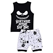 Baby Boy Clothes Toddler Nightmare Print Sleeveless Set Tops and Short Pants 2PC Outfit Set(size70/0-6m)