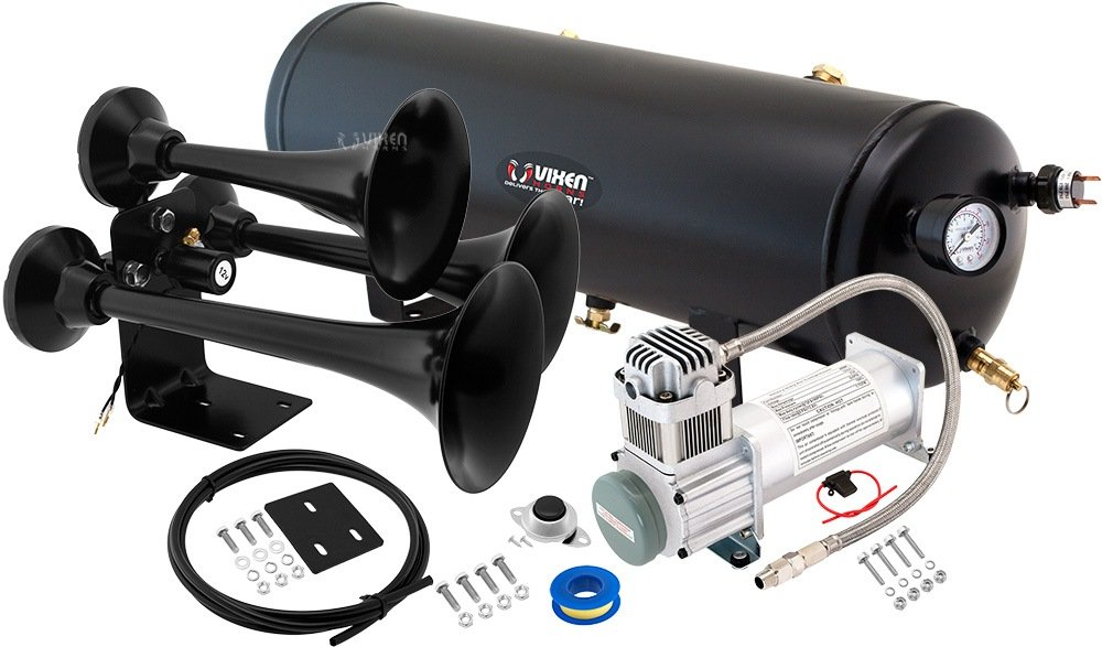 Vixen Horns Loud 149dB 4/Quad Chrome Trumpet Train Air Horn with 3 Gallon Tank and 200 PSI Compressor Full/Complete Onboard System/Kit VXO8330/4114 FBA_VXO83304114