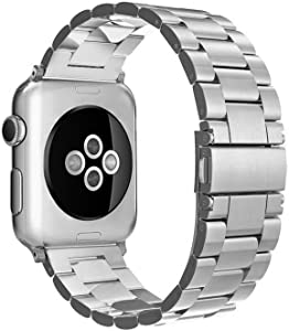 Simpeak Band Compatible with Apple Watch 38mm 40mm Series 6 SE 5 4 3 2 1, Women Men Solid Stainless Steel Business Band Strap Replacement for iWatch 38 40, Silver