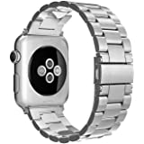 Simpeak Band Compatible with iWatch 38mm 40mm, Stainless Steel Wirstband Strap Replacement for iWatch Series 5 4 3 2 1, Silver