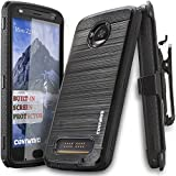 Moto Z2 Play / Z2 Force Case, COVRWARE [Iron Tank] Built-in [Screen Protector] Heavy Duty Full-Body Holster Armor [Brushed Metal Texture] Case [Belt Clip][Kickstand], Black