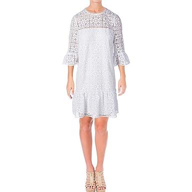 1176fc975c98 Kate Spade New York Women's Lace Flounce Shift Dress Fresh White 8 ...