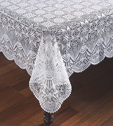 The Paragon Carefree Vinyl Lace Tablecloth - Starburst Faux Crocheted Lace Tablecover is Reusable and Protects Surface from Scratches (60x104)