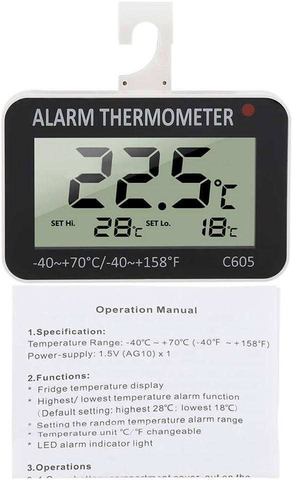 LCD Digital Fridge Thermometer, Refrigerator Alarm with Hook Temperature measurement range Negative 40 Degree to Positive 70 Degree Tester Probe