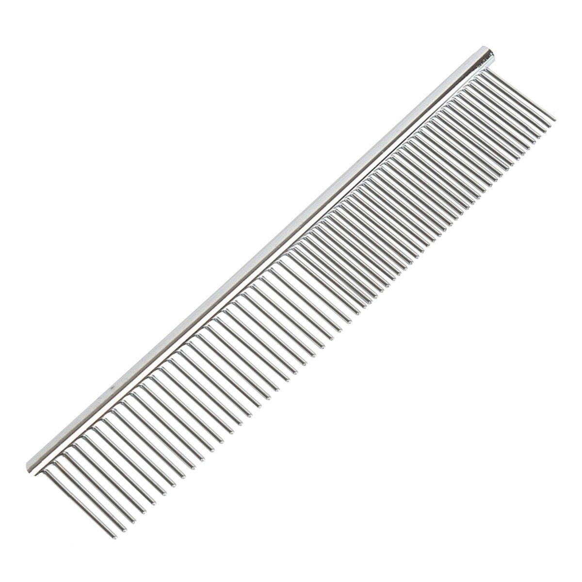 Stainless Steel Dog & Cat Shedding Comb and Grooming Comb with Different Spaced Rounded Teeth,Wide Trimmer Comb,Pet's Lightweight Comfortable Grooming Comb