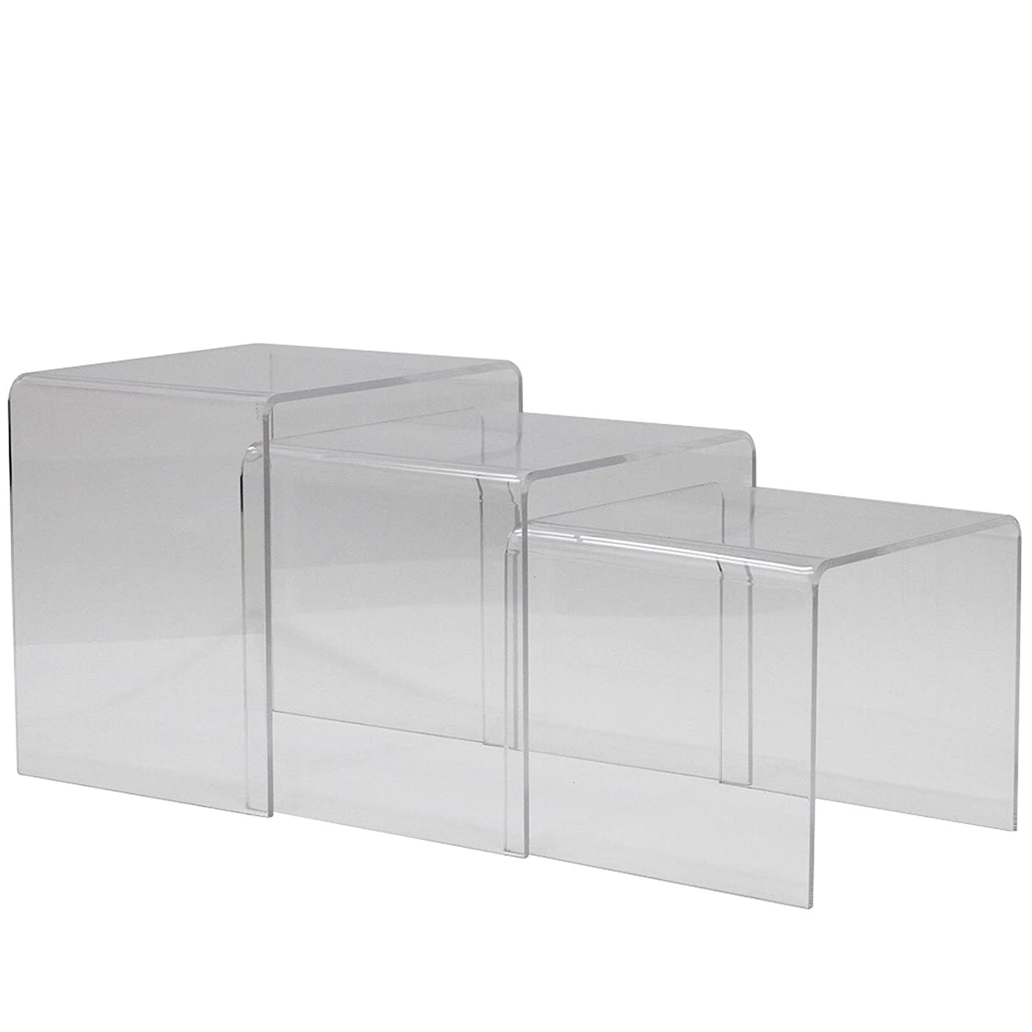 Amazon.com: Modway Casper Clear Nesting Table (3 Piece Set): Kitchen U0026  Dining