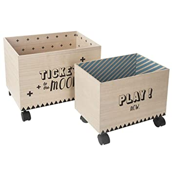 Atmosphera (127346A) - 2 cajas de almacenaje con ruedas, negro y azul: Amazon.es: Hogar