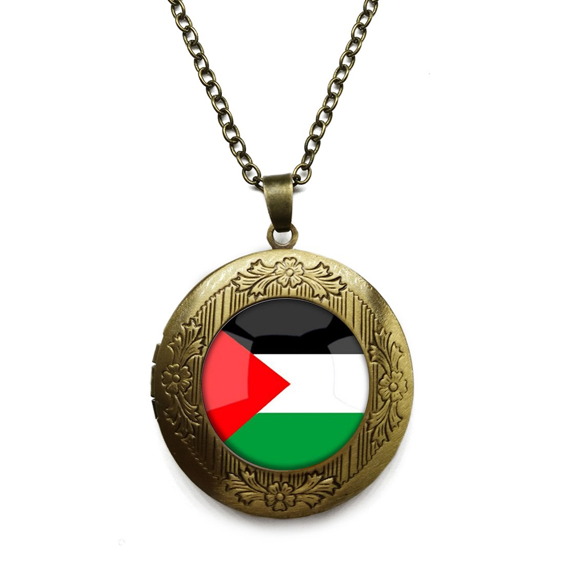 Alloy Pendant The Hashemite Kingdom of Jordan National Flag Vintage Chain Necklace