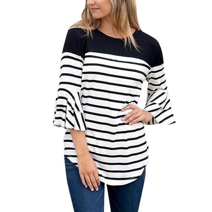 8c9d28ae0cb Sunnywill Camisetas Mujer Tallas Grandes Verano Originales Rayas Blusa  Mujer Elegante Manga Largo Algodón Suelto Otoño Fiesta Camisas Largo T  Shirt Women ...