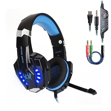 G9000 Cuffie Gaming Headset per PlayStation 4 Auricolare con Microfono  Stereo Bass Luce LED Regolatore di 8d43f613e9cc