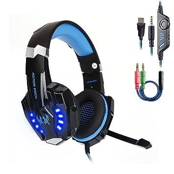 Daping Auriculares PS4 Cascos Gaming con Micrófono Auriculare Cascos Juego Headset Gaming PC con Indicador LED