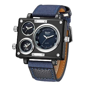 SW Watches Oulm Reloj para Hombre Analogico De Cuarzo,3 Zonas De Tiempo Mostrar Relojes Cuadrados con Correa De Piel 3595 Azul: Amazon.es: Hogar