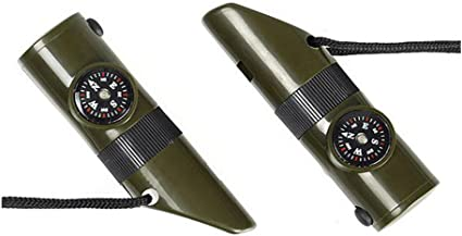 2 7 en 1 style militaire d/'Urgence Sifflet Kit de survie-boussole lumière DEL