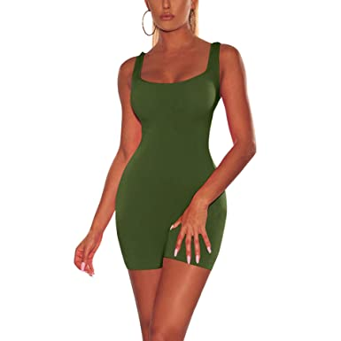 93a959f68f7 Amazon.com  IyMoo Sexy Sleeveless Tank Tops Short Romper Sports Jumpsuit  Bodysuit One Piece Short Catsuit  Clothing