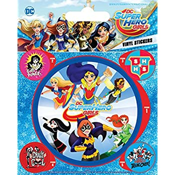 DC Comics Sticker Adhesive Decal - Super Hero Girls, Attack (5 x 4 inches)