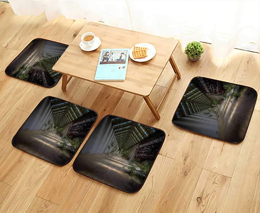 Chair Cushions Industrial Interior with Light Structure Angle and Plants Metal Urban Non Slip Comfortable W25.5 x L25.5/4PCS Set