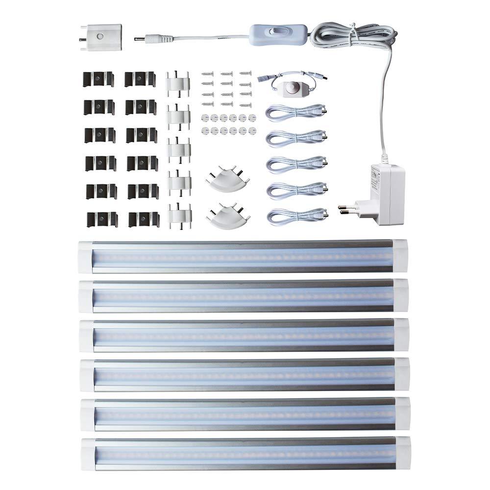 Lampaous Lampaous Lampaous 6er Pack Dimmbar Unterbauleuchte LED Leiste Streifen Unterbaulicht 4W jede LED Leiste, insgesamt 24W 1800lm Neutralweiß 12V ideal für Küchenarbeiten Nische Küchenoberschränke Küchenhänge 49d554