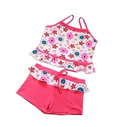 0e141b75da8b3 Amazon.com: Transser Girls Two Piece Tankini Swimsuit Kids Off Shoulder Swimwear  Bathing Suit Set: Musical Instruments