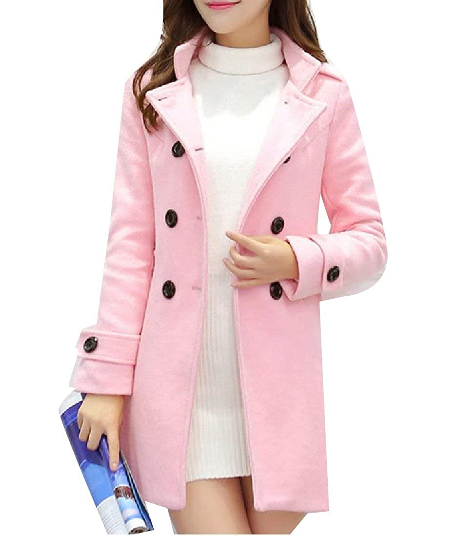 DoufineWomen Double-Breasted Mid-Long Stand Collar Winter Coat Pea Coat