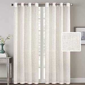 Living Room Linen Curtains Home Decorative Nickel Grommet Curtains Privacy Added Energy Saving Light Filtering Window Treatments Draperies for Bedroom, Ivory, 2 Panels, 52 x 96 - Inch