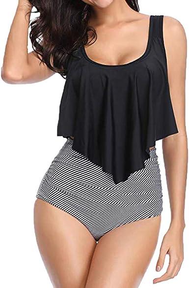 RQWEIN High Cut High Waisted Bikini Bottom Womens Retro High Waisted Bikini Bottom Ruched Side Swim Short Tankinis